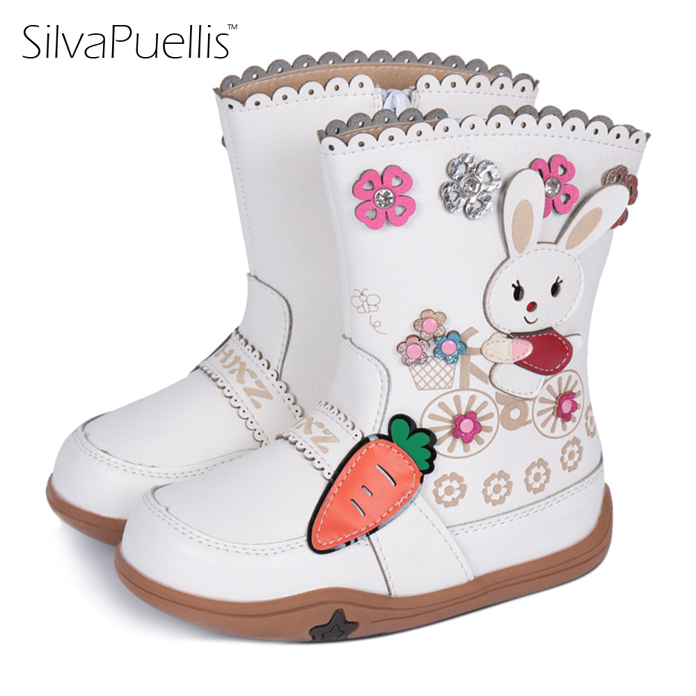 SilvaPuellis Girls Boots 2017Winter New Girls Snow Boots In The Tube Children's Shoes White Rabbit Princess Fashion Boots Baby