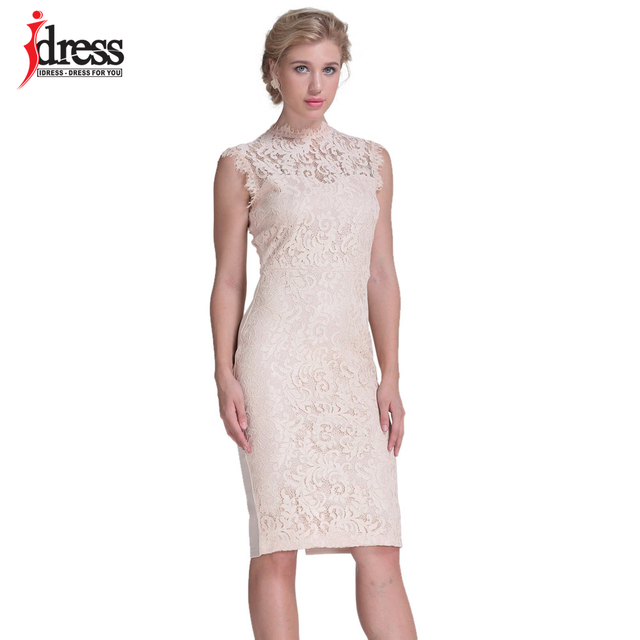 Idress Runway Fashion High Quality Sleeceless Summer Knee Length Lace Dress Y Open Back Hollowed Elegant