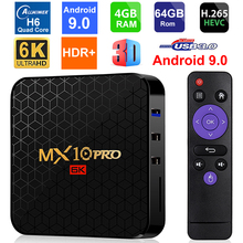 Android 9.0 Smart TV Box MX10 PRO Allwinner H6 Quad Core 4GB di RAM 64GB ROM USB3.0 WIFI 3D 6K Risoluzione H.265 HDR Media Player
