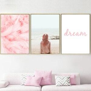 Image 3 - الوردي فتاة الطيور ريشة سيارة شاطئ البحر الرسم على لوحات القماش الجدارية الشمال الملصقات و يطبع جدار صور لغرفة المعيشة ديكور