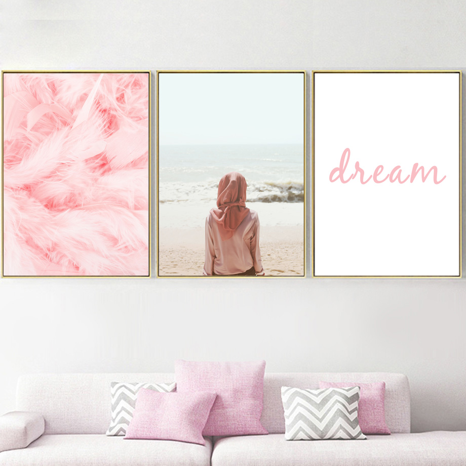 Image 3 - Pink Girl Bird Feather Car Beach Seascape Wall Art Canvas Painting Nordic Posters And Prints Wall Pictures For Living Room Decor-in Painting & Calligraphy from Home & Garden
