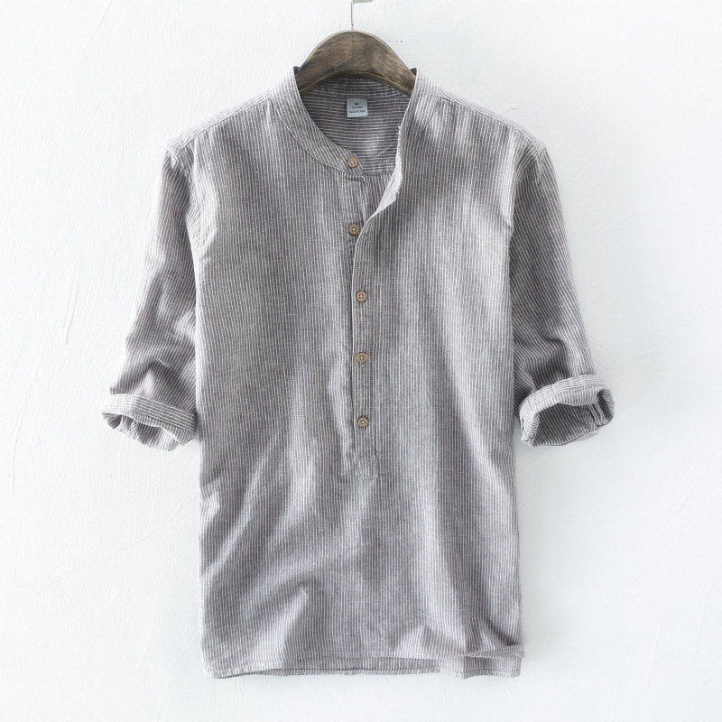 WMSHUO 2018 Mens Striped Shirts Male Three Quarter Sleeve Social Cotton Linen Stripe Casual Shirt Free Shipping Y502