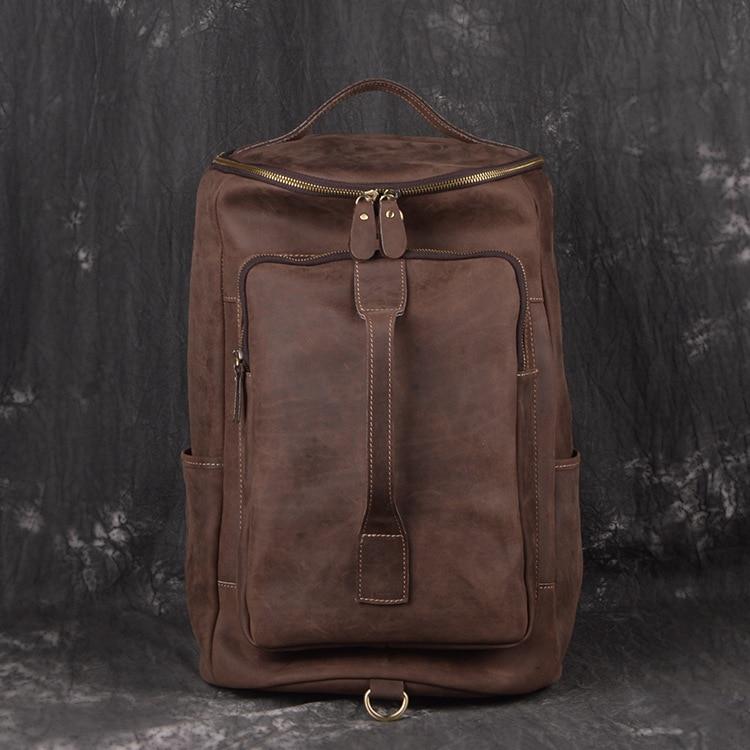 Genuine leather cow skin large travel bag men outdoor backpack