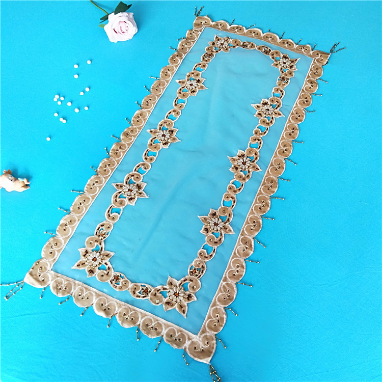 Image 4 - 40x85cm Transparent Mesh Hand studded Cloth Stitching Tablecloth Dressing Table Shoe Cabinet Coffee Sideboard Cover Towel Tapete-in Tablecloths from Home & Garden