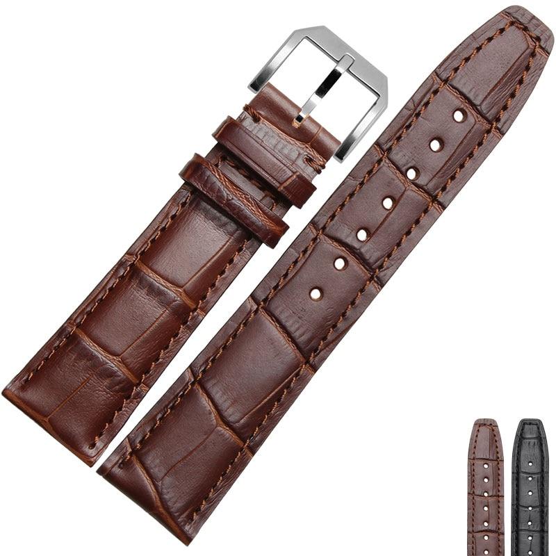 20mm 21mm 22mm ægte læderurbånd med guld RoseGold sølv sort spænde til mærke ur mænd armbånd gratis forsendelse