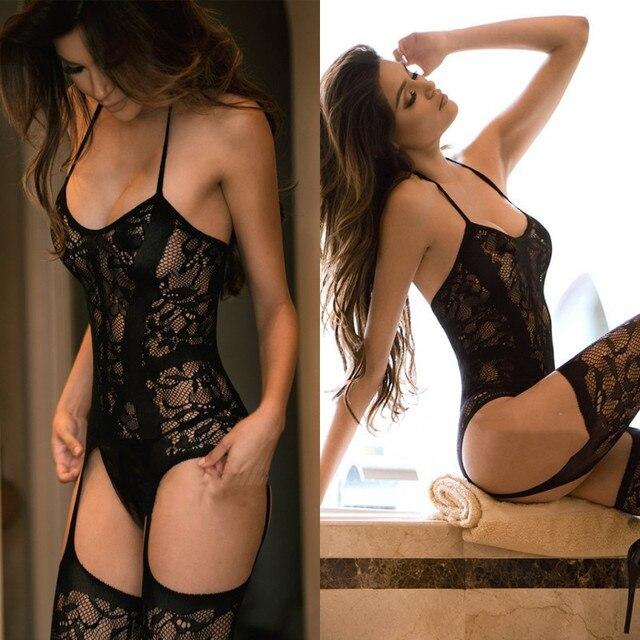 New Women Sexy Lingerie Open Hollow Stockings Garter Belt Fishnet Tights Transparent Pantyhose Long Stocking 2