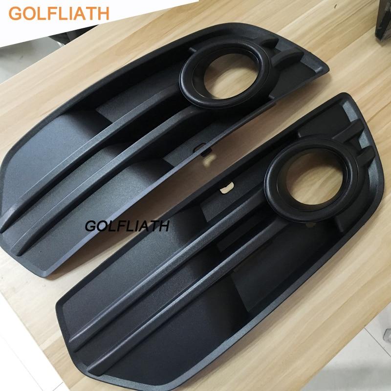 GOLFLIATH une paire de grilles de pare-chocs avant pour 2009 2010 2011 Audi Q5 ABS plastiques mat noir brouillard couvercle de lampe Grille