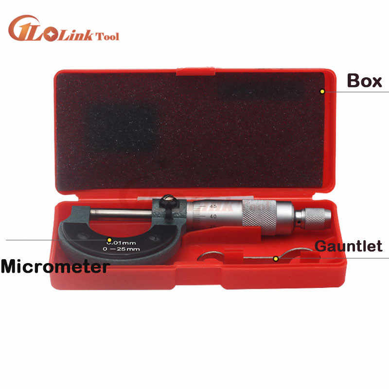 0-25mm//0.01mm Outside Micrometer Caliper Precision Gauge Vernier Measuring Tools