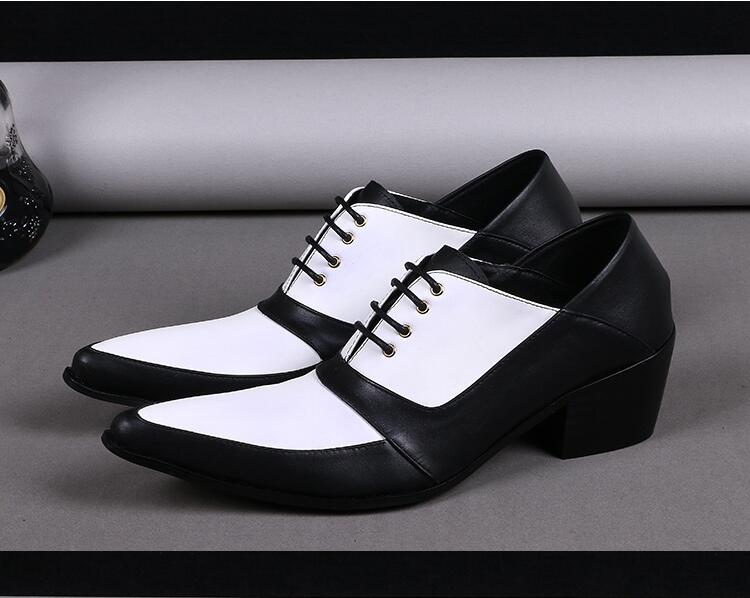 Men's Pointed Toes Genuine Leather Shoes Men Lace up Business Male Formal Dress Shoes Patchwork Oxfords Height Increasing Shoes mycolen new arrived brand men shoes black oxfords shoes pointed toe men flat business formal shoes lace up men s dress shoes