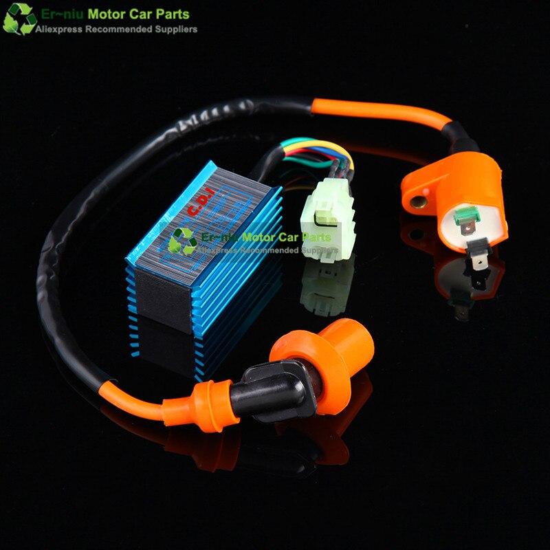 GY6 125 150 montant GY6 180cc 4 temps alésage 58.5MM cylindre KIT course A14 arbre à cames carburateur CDI bobine d'échappement - 3