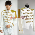 singer dancer costumes outerwear gold sparkling diamond white blazer male formal dress  singer dancer fashion uniform prom bar