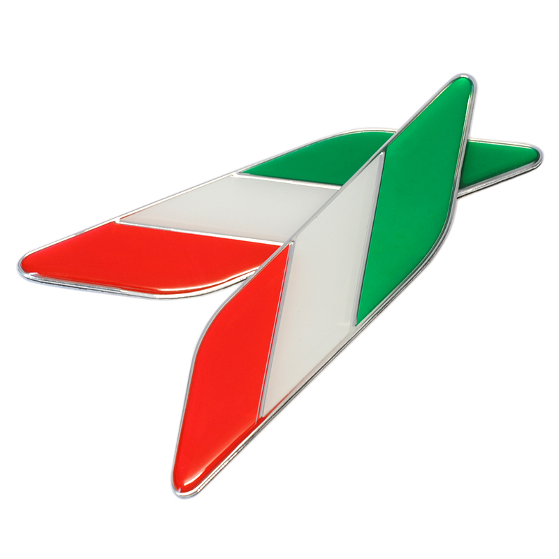 Image 2 - 1pair Italy Car Styling Metal Logo Aluminum Italian Flag Fender Emblem Badge Sticker for Fiat Alfa Romeo Abarth Car Accessories-in Car Stickers from Automobiles & Motorcycles