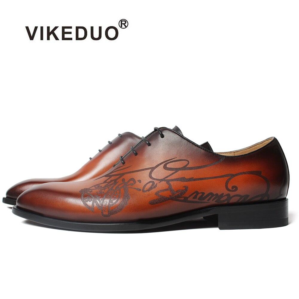 Vikeduo 2019 Handmade Designer Fashion Footwear Luxury Party Wedding Laser Letters Oxford Shoe Genuine Leather Men Dress Shoes
