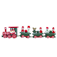 Christmas Train Wooden Small Train For New Year Gift Christmas Decoration New Year Supplies
