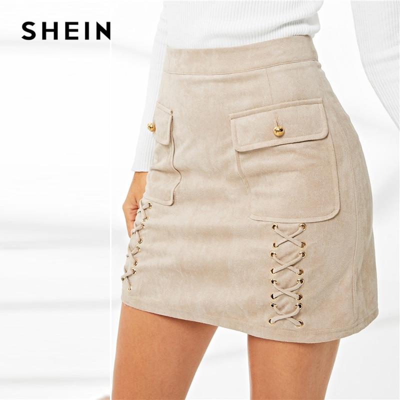9112925aa2c23 US $16.0 40% OFF SHEIN Khaki Elegant Workwear Solid Lace Up Dual Flap  Pocket Grommet Crisscross Suede Skirt Autumn Office Lady Women Short  Skirts-in ...