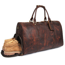 Men Travel Duffel Bag Real Leather Travel Bag With Shoes Pocket Vintage Crazy Horse Leather Zip Around Weekend Bag X-7077L цена 2017