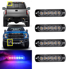 Car-Styling Bright Red Blue 6 LED Car Truck Van Beacon Strobe Warning Flashing Emergency Grille Police Light