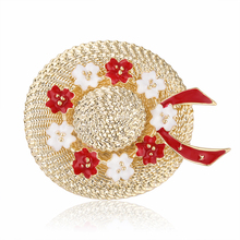 Fashion Flower Straw Hat Brooches For Women Enamel Sunhat Brooch Pins Party Bag Dress Accessories Gifts