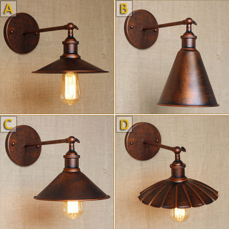 Loft american  wall lights E27 plated retro vintage iron Bedside Reading lamp 110V/220V with 40W bulb Antique lamp industrial vintage loft simple handmade plated