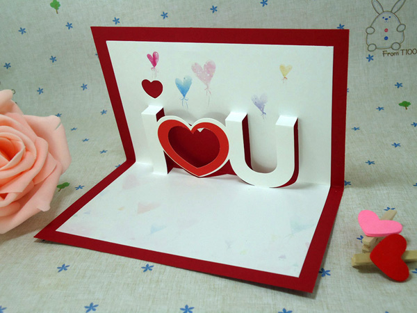 3d I Love You Festival Valentine Cards Pop Up Heart Love Greeting