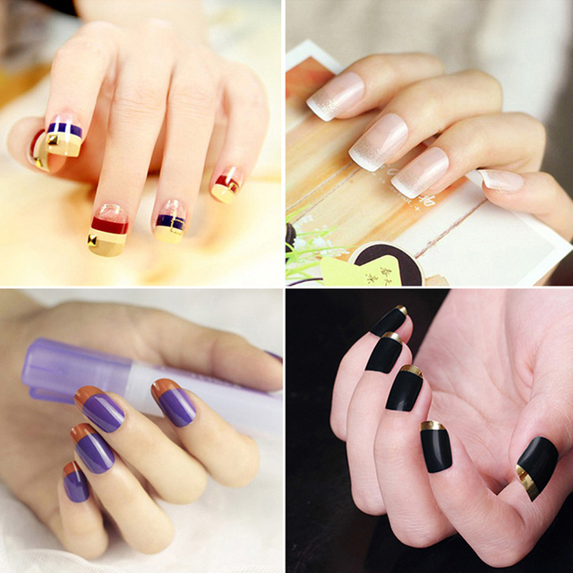 New Wholesale 15Pcs Nails Sticker Tips Guide French Manicure Nail ...