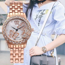 2017 New Hot Sale Popular Women Butterfly Watch Classic Rhinestone Quartz Delicacy Watches Wristwatches Clock Relogio Feminino