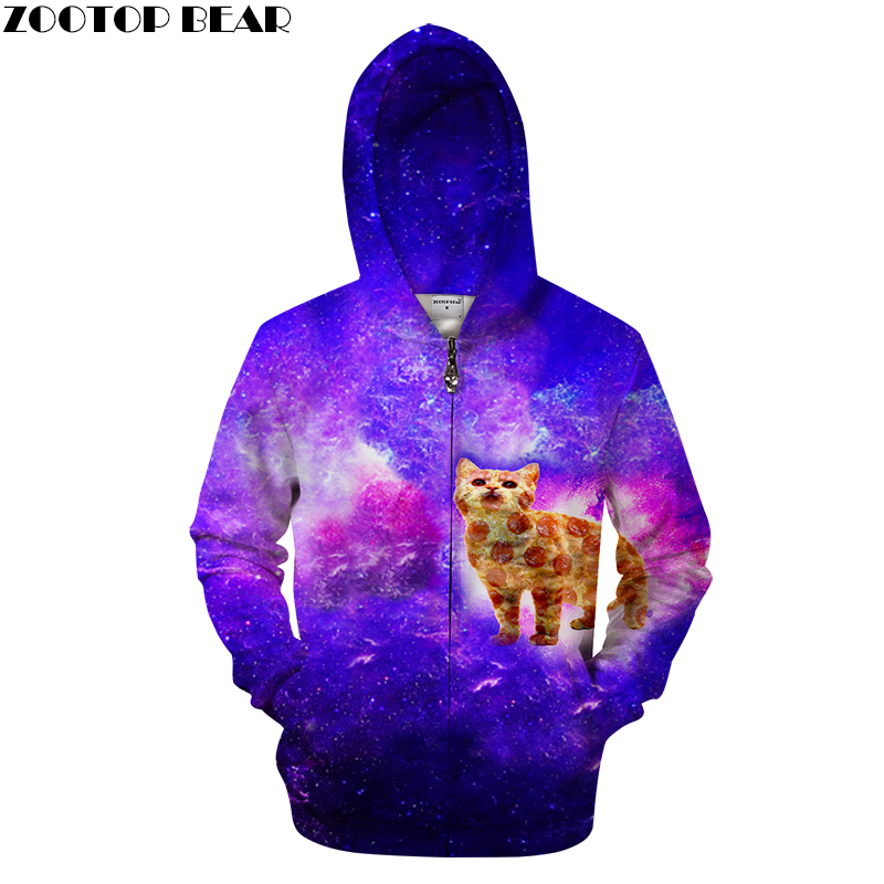 Zipper Galaxy Hoodies Men Cat 3d Hoodie Space Unisex Hooded Cardigan Sweatshirts Brand ZIP Tracksuits Plus Size 2018 ZOOTOP BEAR
