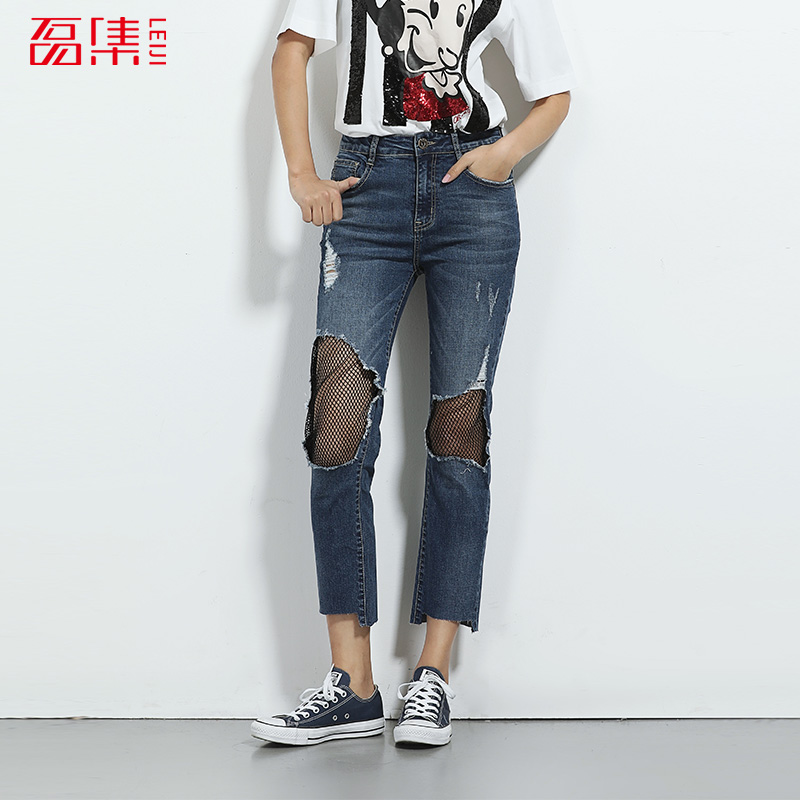 LEIJIJEANS 2017 Fashion Net Patchwork High Waist Women Plus Size S-6XL Skinny Jeans Mid Elastic Ripped Hole Jeans Capris Femme