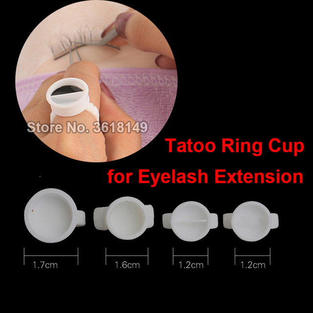 500pcs No Separator Permanent Tattoo Ink Ring Cup Tattoo Pigment Caps Plastic Container Holder Grafting Eyelash Small Medium Lar