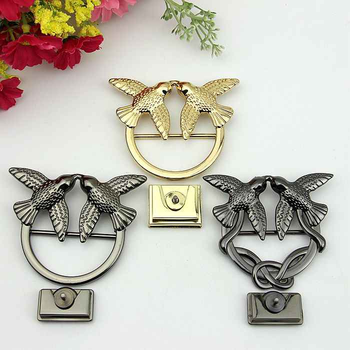Bag Metal Accessories Two birds adornment Lock Buckle ornament DIY sewing Patchwork Bag 2set/lot Gold black
