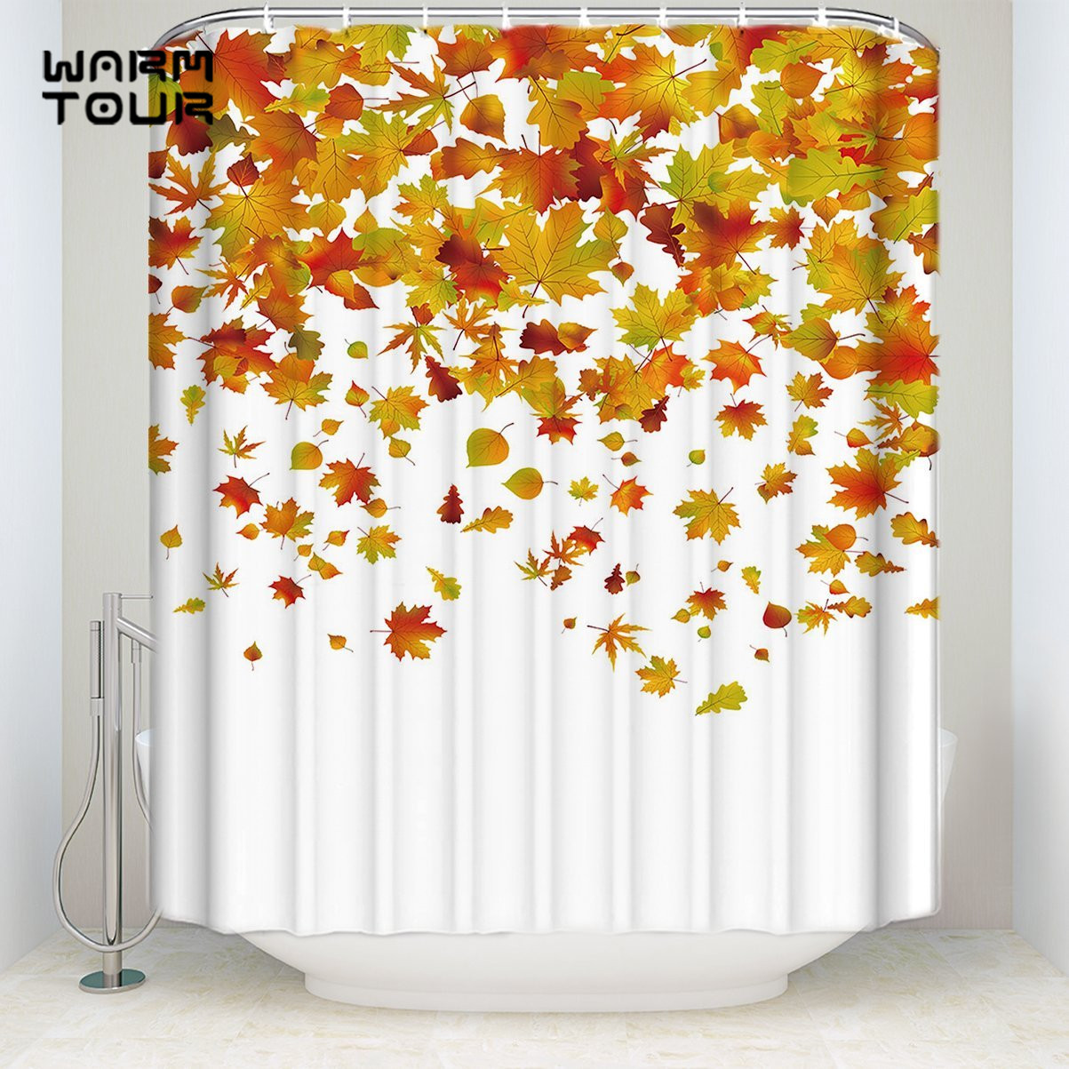 Us 17 38 25 Off Bath Shower Curtains 72 X 72 Inches Fall Maple Leaves Welcome Mildew Resistant Bathroom Decor Sets With Hooks In Shower Curtains