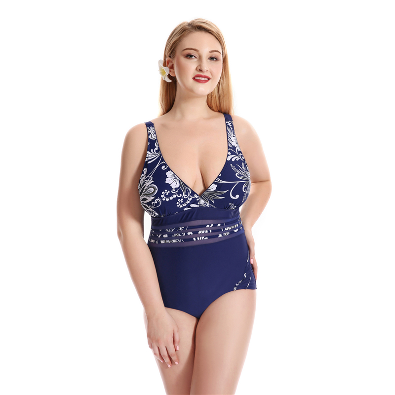 Plus Size Swimwear 2017 One Piece Swimsuit Sexy Push Up Bathing Suit Ladies Deep V Neck Swim Wear For Women Print Beachwear Hot