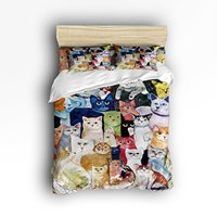 Queen Size Bedding Set Cute Colorful Cat Duvet Cover Set Bedspread for Childrens/Kids/Teens/Adults, 4 Piece