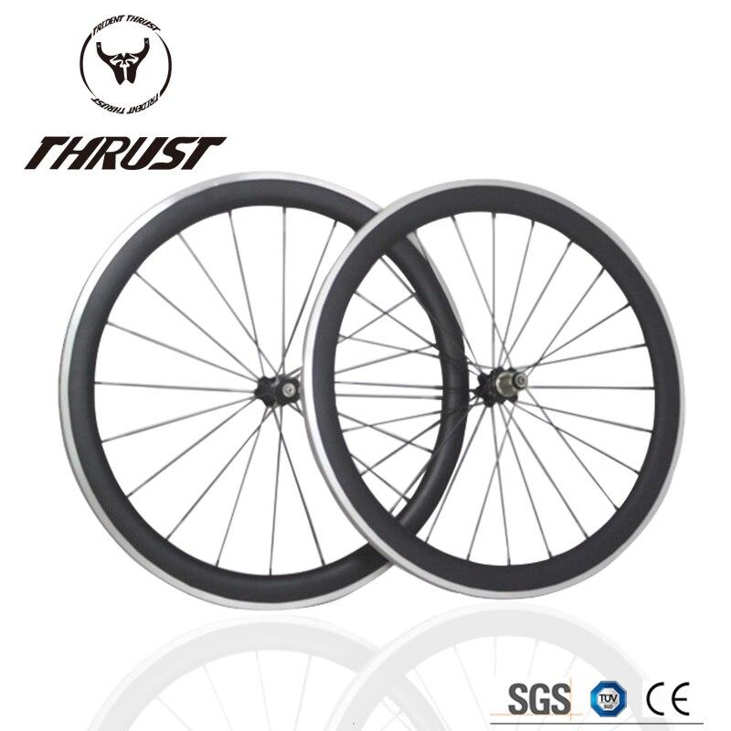 THRUST 700C Carbon Wheelset Clincher 50mm Tubular Road Bike Carbon Wheels 25/23mm Width Bicycle Wheelset