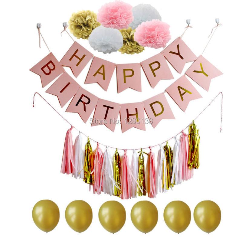 Azul blanco y oro papel de seda de la borla Garland Pompoms Fiesta - Para fiestas y celebraciones - foto 2