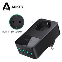 AUKEY 4 Port USB Charger With Built In Socket Universal Wall Charger USB Mobile Travel Phone