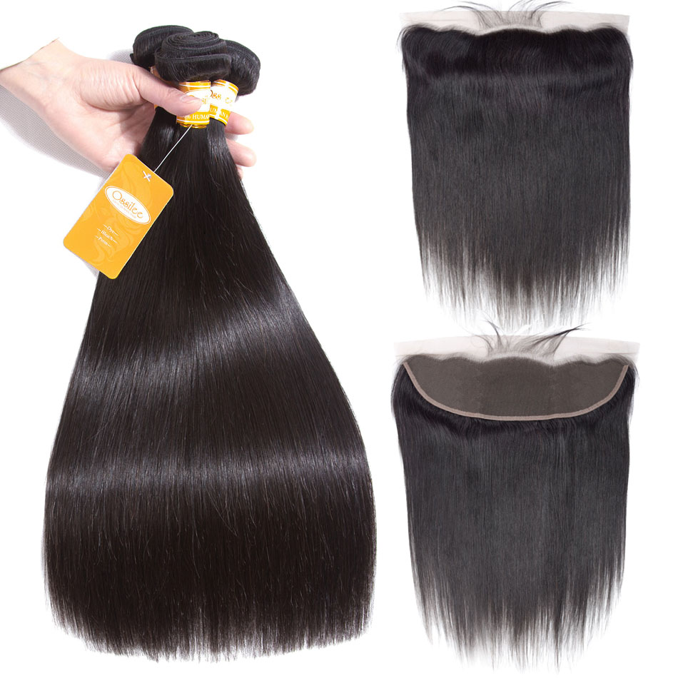 Ossilee Straight Hair Bundles With Frontal Peruvian Human Hair 3 Bundles With Ear to Ear Lace Frontal Non Remy Hair Extentions