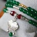 6mm Pulseira de Jade Verde Tibete Prata Longevidade Bloqueio Pingente Pulseira do Sexo Feminino Jóias Cadeia de Múltiplas Camadas Colar de Pedra Natural