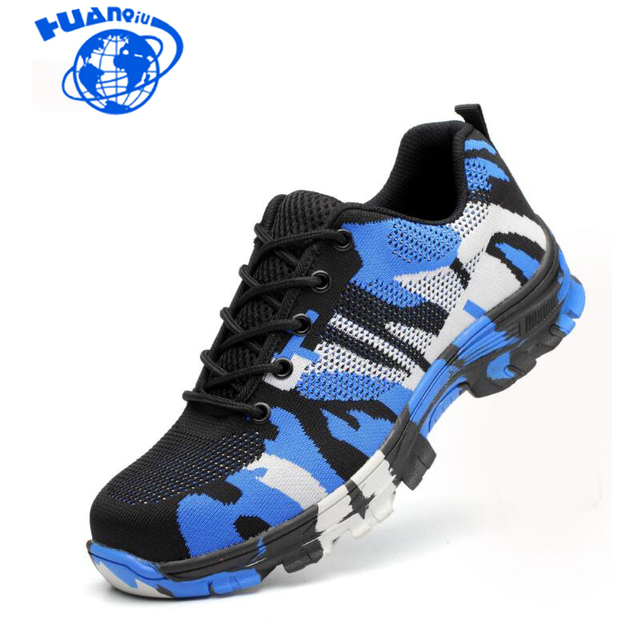 HUANQIU Men Safety Work Boots Camouflage Spring Breathable Mesh Steel Toe Casual Shoes Mens Labor Insurance Proof Shoes Wyq158