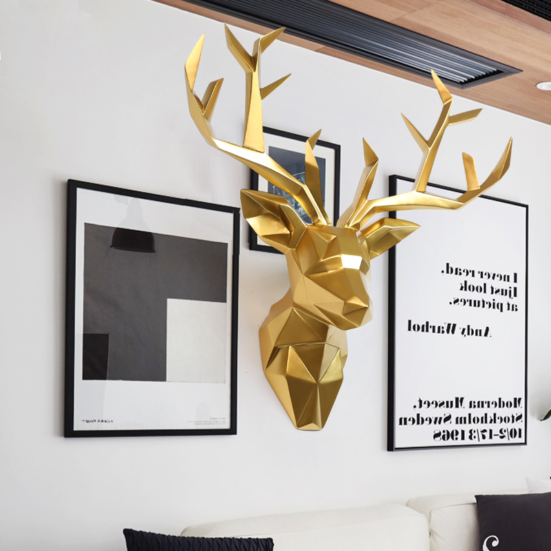 Grand 3D tête de cerf Statue Sculpture décor maison décoration murale accessoires Figurine animale fête de mariage suspendus décorations