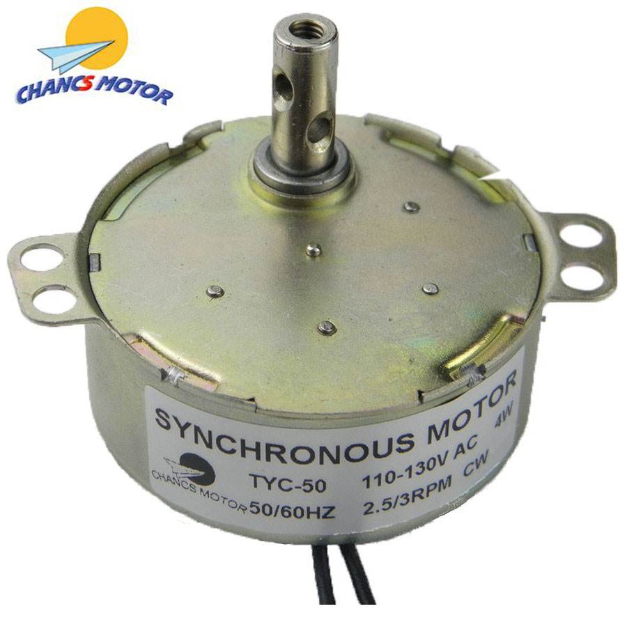 CHANCS TYC50 AC Synchronous Motor 110V Crafts Rotate Fan 2.5-3RPM 4W 8Kgf.cm Torque CW