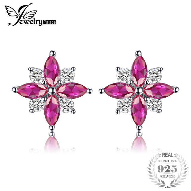 JewelryPalace Flowers Created Ruby Stud Earrings Pure 925 Sterling Silver Feminine Fashion Earrings Jewelry For Women