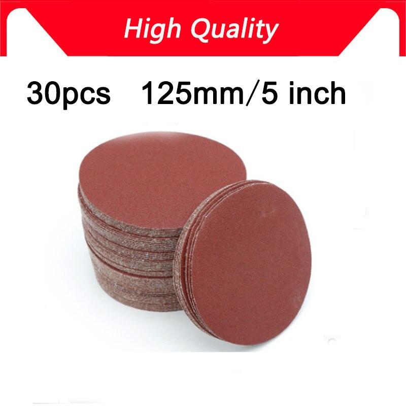 NEW 30pcs 5 Inch 125mm Round Sandpaper Disk Sand Sheets Grit 80/100/120/180/240/320 Hook And Loop Sanding Disc For Sander Grits