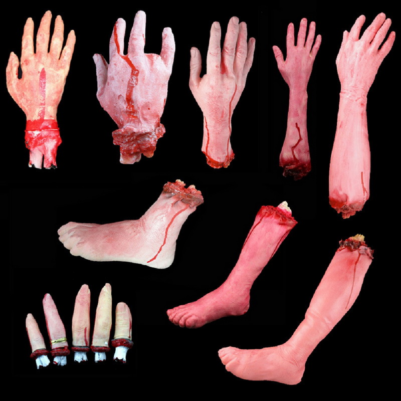 1pcs halloween horror props bloody hand haunted house party decoration scary hand finger leg foot