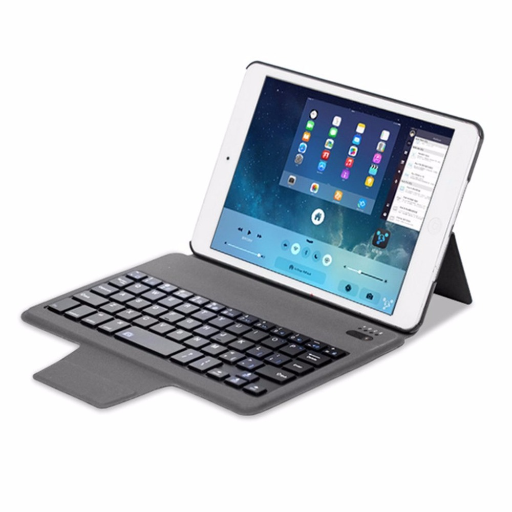 Universal PU Leather Bluetooth Keyboard Case for iPad mini1/2/3 Protective Tablet Keyboard Cover with Stand Layout Customize universal 61 key bluetooth keyboard w pu leather case for 7 8 tablet pc black