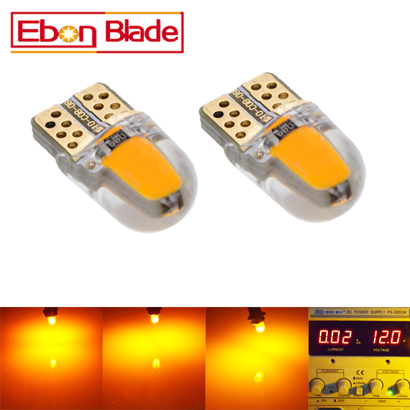 2/4 Pcs Silicone Shell Cob 2W Car Led T10 Led W5W 12V Led Instrument Cluster Lamp Light Lighting Amber Yellow Orange Free SHIP figure skating clothing black ice skating dress custome hot sale girls skating suit absorb sweat washable spandex dance wear