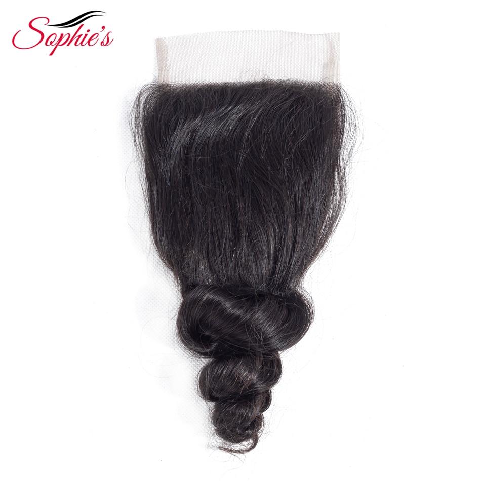 Sophie's Hair Brazilian Mänskligt Hår 4 * 4 Snörning Lös Wave - Skönhet och hälsa - Foto 1