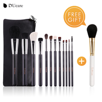 DUcare 12 PCS Makeup Brushes Set Natural Bristles Powder Foundation Blush Eye Shadow Cosmetics Tool With