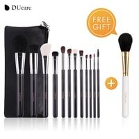 DUcare 12 PCS Makeup Brushes Set Natural Bristles Powder Foundation Blush Eye Shadow Cosmetics Tool With