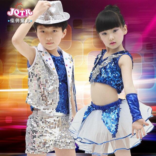 2016 Salón danza vestido chica Niños trajes de jazz modernos niños sequined  hip hop dancewear etapa a00a5453732